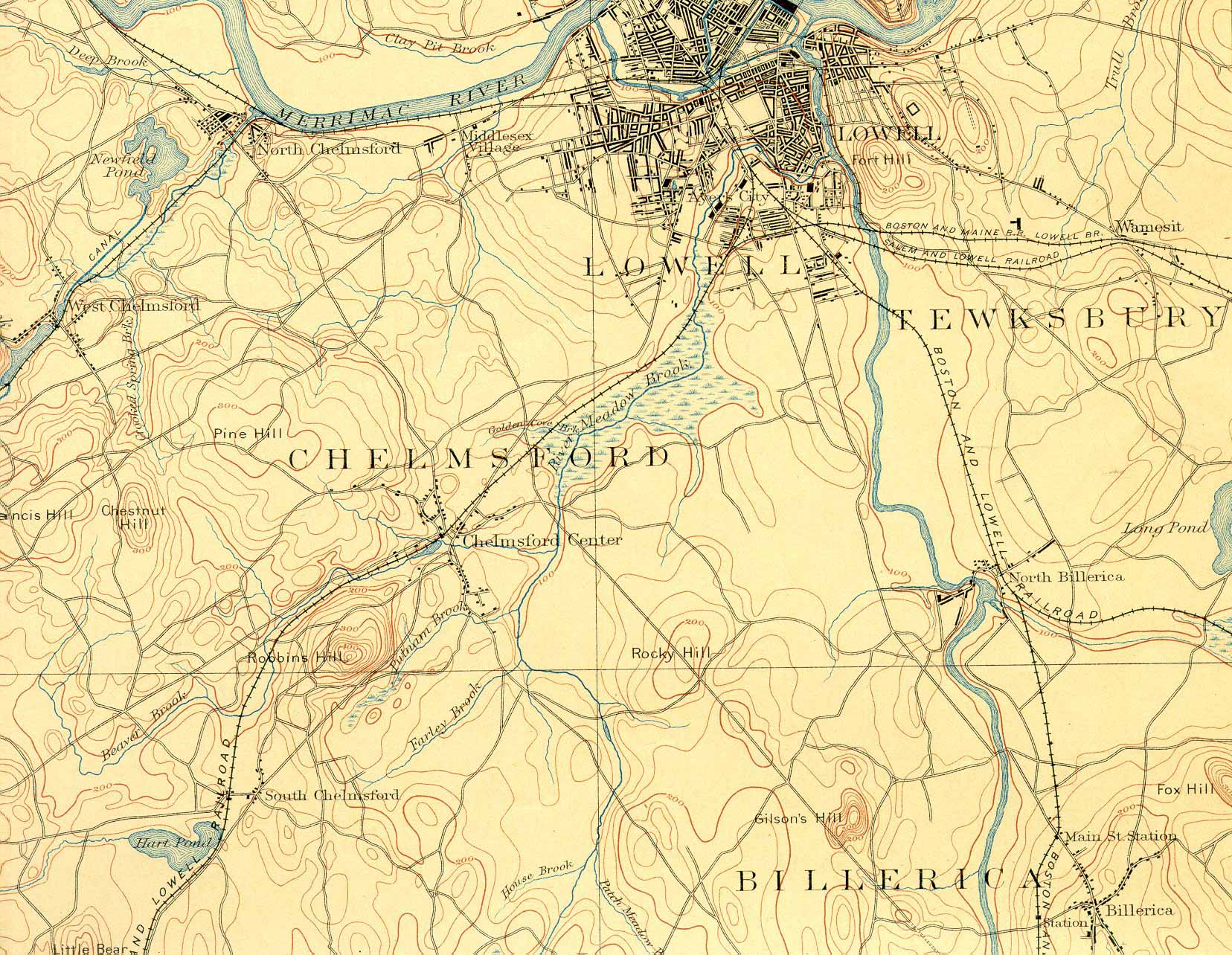 The Framingham and Lowell in Topo Maps